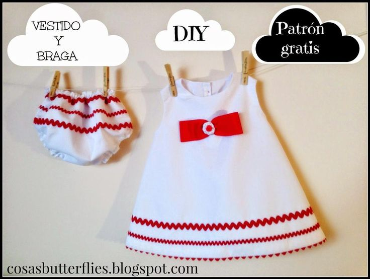 Tutorial de costura: Vestido con braga y capota para niña decorado con piculina