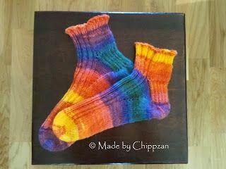 Gratis mönster på tå-upp sockor med kort skaft.