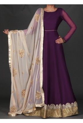 Lashkaraa Deep Purple and Golden Beige Embroidered Anarkali
