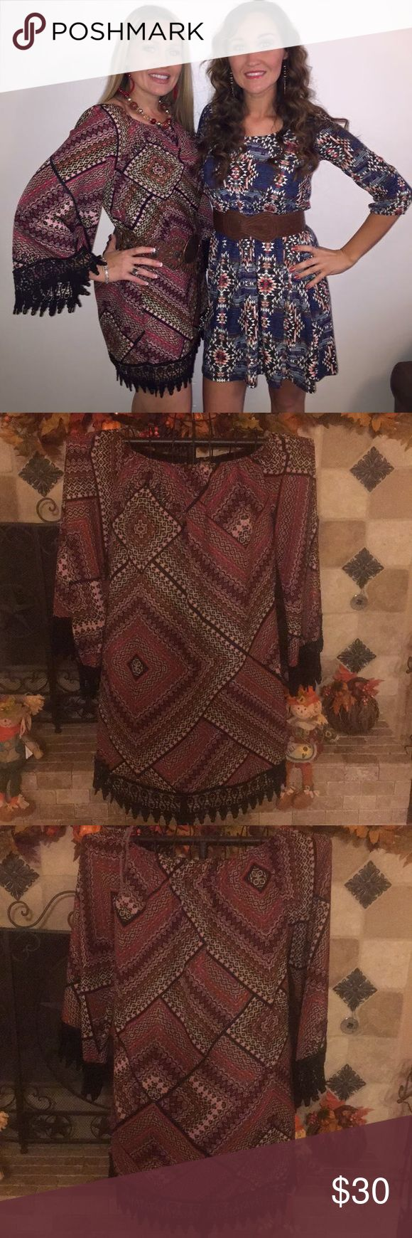 Wrangler bell sleeve dress Wrangler bell sleeve dress. Only worn once to a concert. Super cute with western boots. I'm 5'4 and it hit about mid thigh on me. Wrangler Dresses