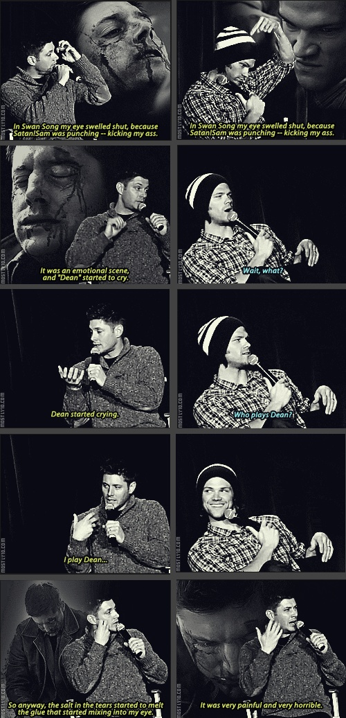 [SET OF GIFS] Jensen and Jared talk about Dean's prosthetic makeup in 5x22 Swan Song at convention panel