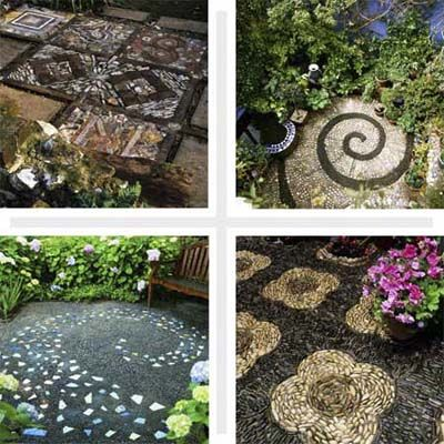 patioOld House, Diy Ideas, Diy Pebble Mosaics, Mosaics Art, Pattern, Ideas Gardens, Mosaics Design, Focal Point, Stones
