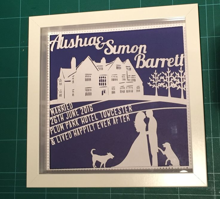 Bespoke wedding papercut gift - Venue, bride and groom, dogs - Wallacd Imagery.