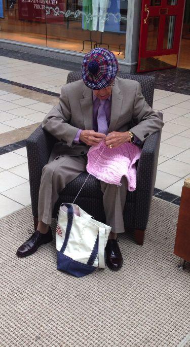 """Knit Note: Men Knit Too!  Check out his plaid """"bonnet"""" (beret)."""