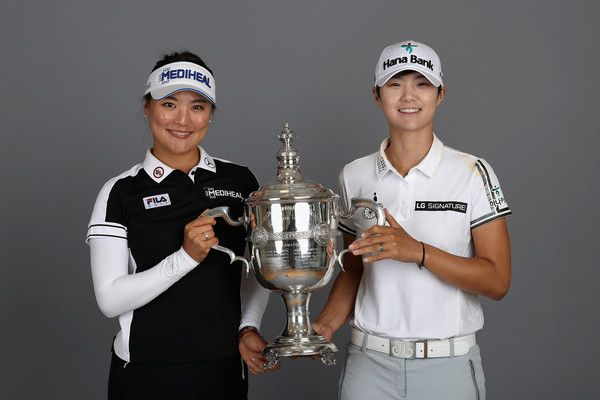 So-Yeon Ryu Photos - Co-Rolex Players of the Year So Yeon Ryu of Korea (L) and Sung Hyun Park of Korea (R) pose with the Rolex Player of the Year trophy after the final round of the CME Group Tour Championship at the Tiburon Golf Club on November 19, 2017 in Naples, Florida. - CME Group Tour Championship - Final Round
