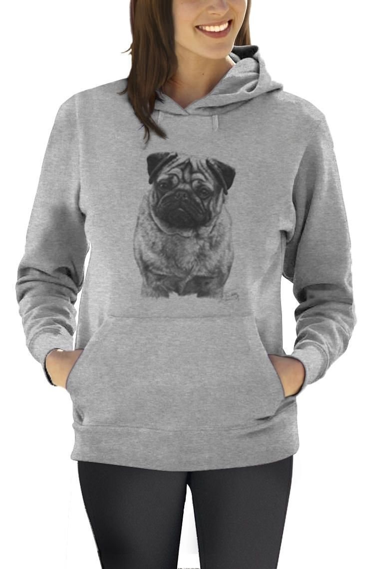 Dog Lover Black And White Pug Animal Lover Graphic Tee Women Hoodie Fun Novelty