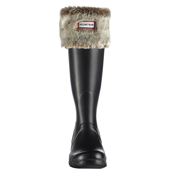 Hunter boots with grizzly cuffs