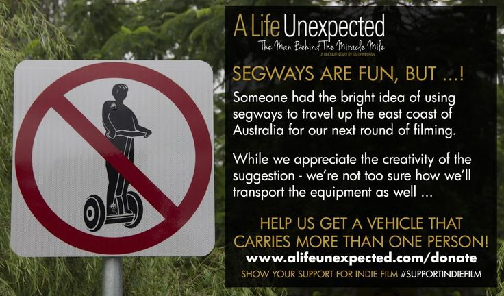 Segways ... not likely to be the best way for us to travel up the East Coast ... but, if needs must! http://www.alifeunexpected.com/donate