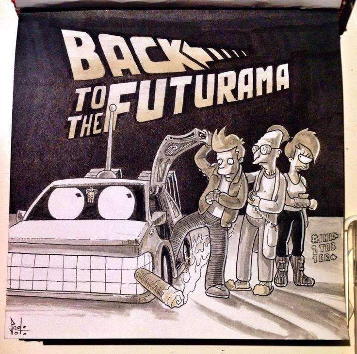 Paolo Voto - Back to the Futurama - illustration - #inktober #inktober2015 #inktobersonry #massoneriacreativa - www.massoneriacreativa.com