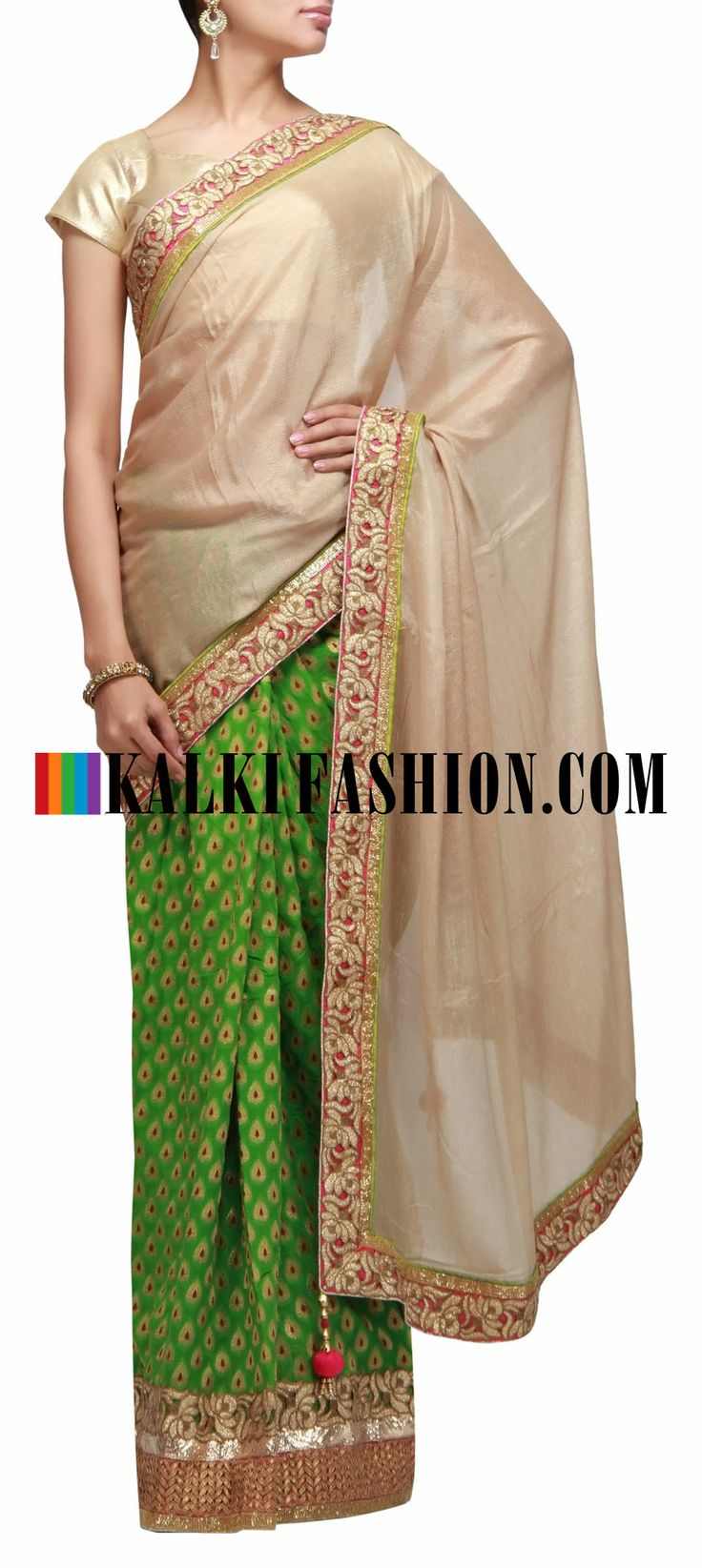 Buy Online from the link below. We ship worldwide (Free Shipping over US$100) http://www.kalkifashion.com/half-and-half-saree-in-gold-and-green-with-gotta-patti-and-cut-work-border.html Half and half saree in gold and green with gotta patti and cut work border