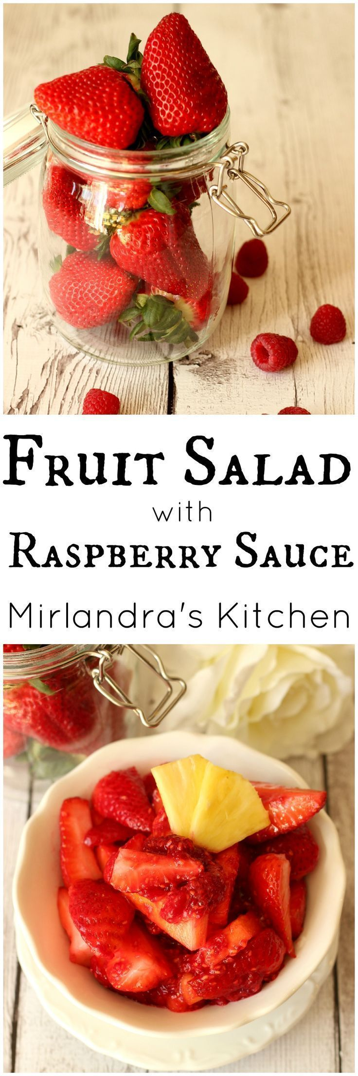 This easy fruit salad is flavorful and unique.  The dressing is made up of nothing but smashed raspberries.  It is the perfect side dish for any occasion. Easter?  Picnic? BBQ? Breakfast with company?  Dessert with or without whipped cream?