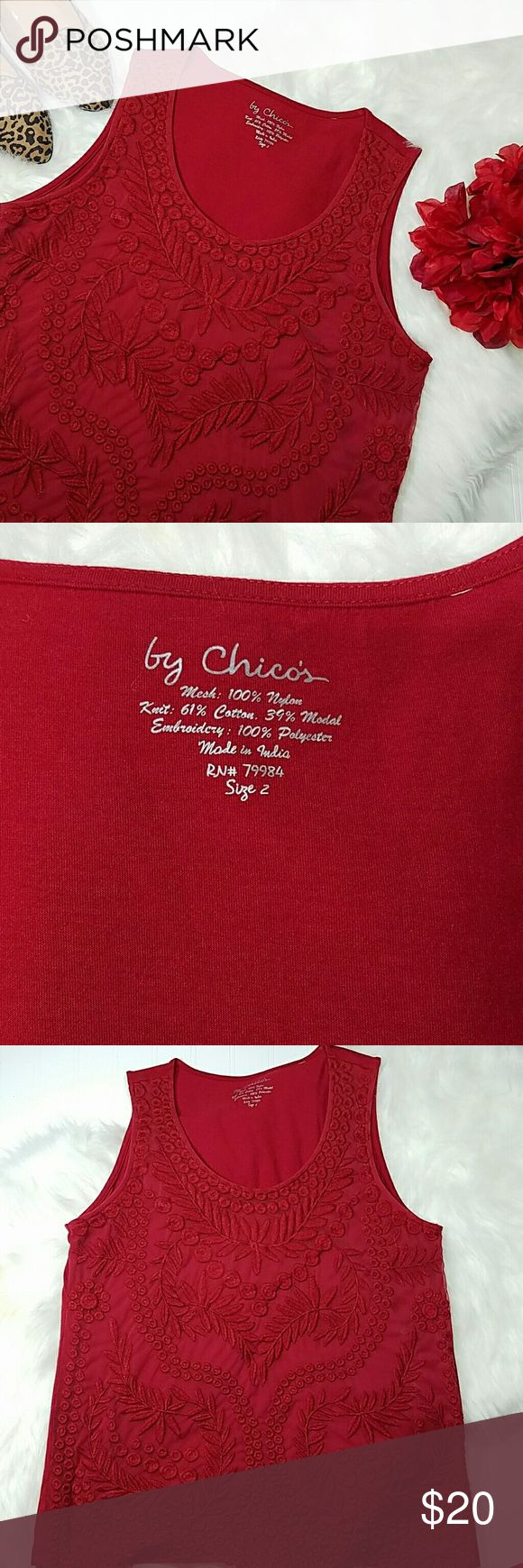 Chicos red lace tank top Red tank top with lace embroidery, front is lined.  Nylon/cotton/modal. Excellent condition.  Sz 2 Chico's Tops Tank Tops