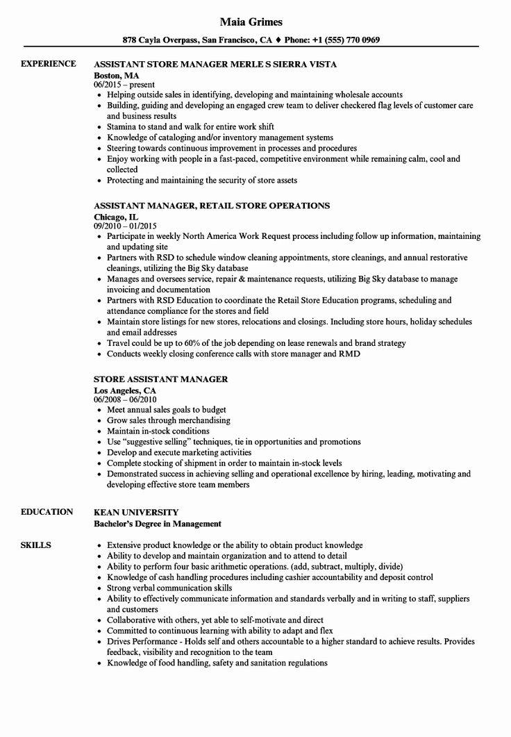 Assistant Store Manager Job Description Resume Luxury