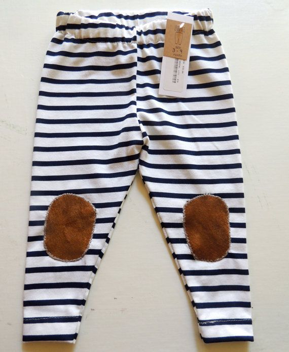 Navy and White Stripe Leggings with Leather Knee Patch Modern baby Clothes Size 3-9 Months on Etsy, $30.00