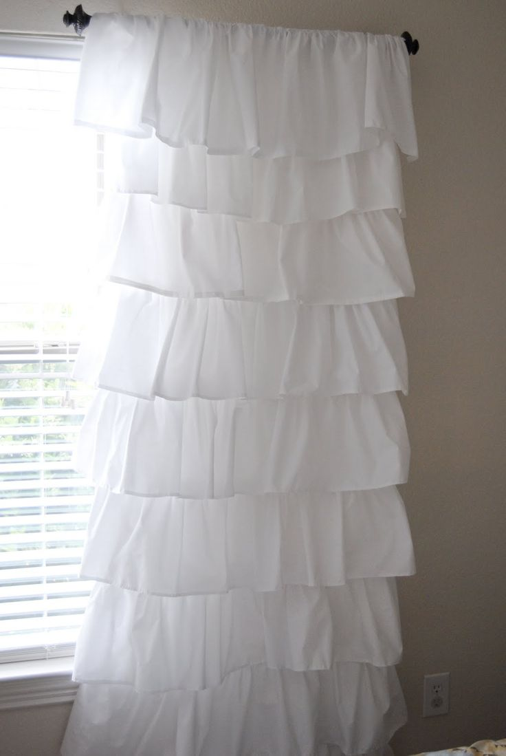 So i decided to make the curtains well semi home made - Diy How To Make Shabby Ruffle Curtains From Four Dollar Sheets Would