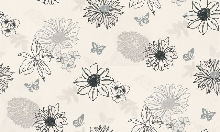 Albany Fashion (432237) - Albany Wallpapers - A pretty random flower and leaf motif design with butterflies in black, grey and silver on an off white background. Other colours available