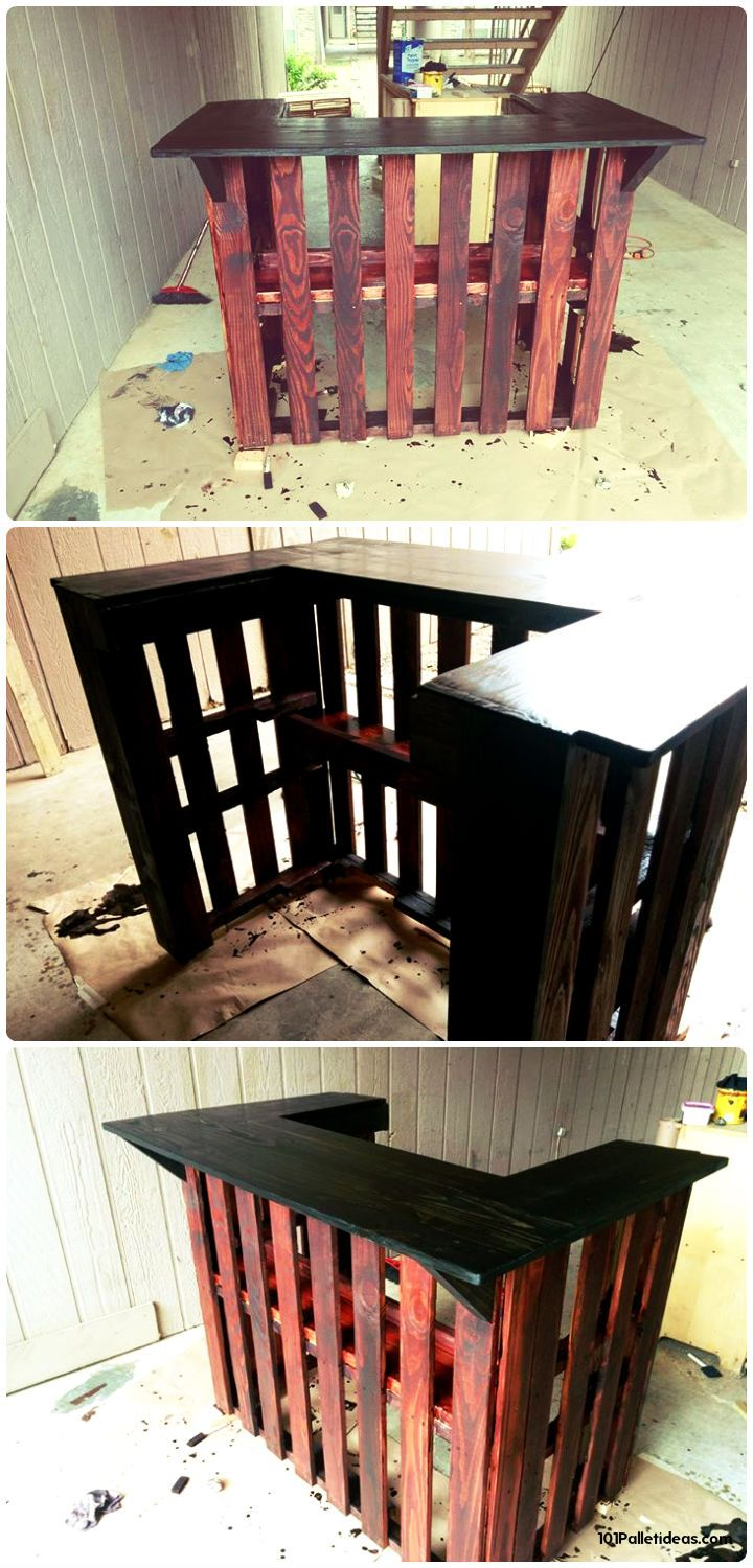 fancy up with reddish and darker choco shades of stained and comes with a lasting edged counter - 50+ Best-loved Pallet Bar Ideas & Projects | 101 Pallet Ideas - Part 2