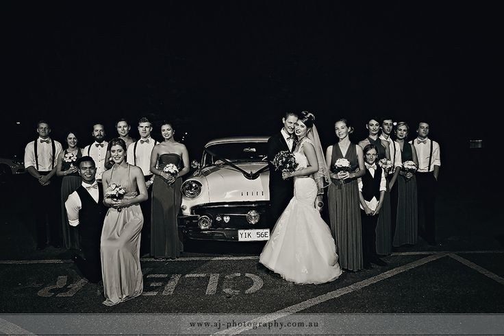 Kingston Fitters Workshop, Canberra. Wedding vintage car & bridal party
