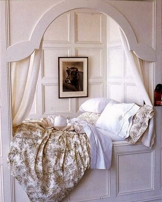I want my basement guestroom to have this French alcove bed idea. It would give them a warm nights rest  and lead to conversations in the mornings.
