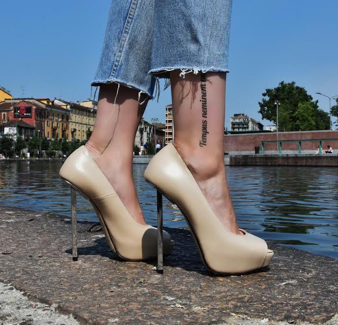 Rod Nude, steel heel, nappa leather, rock, tattoo, canal, navigli, Milan, made in Italy, Lamperti Milano