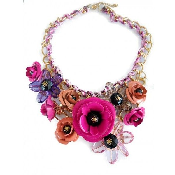 Ombre Pink Rose Bouquet 3D Statement Necklace ($28) ❤ liked on Polyvore featuring jewelry, necklaces, chain necklace, gold statement necklaces, chunky statement necklace, rose gold jewelry and gold bib necklaces