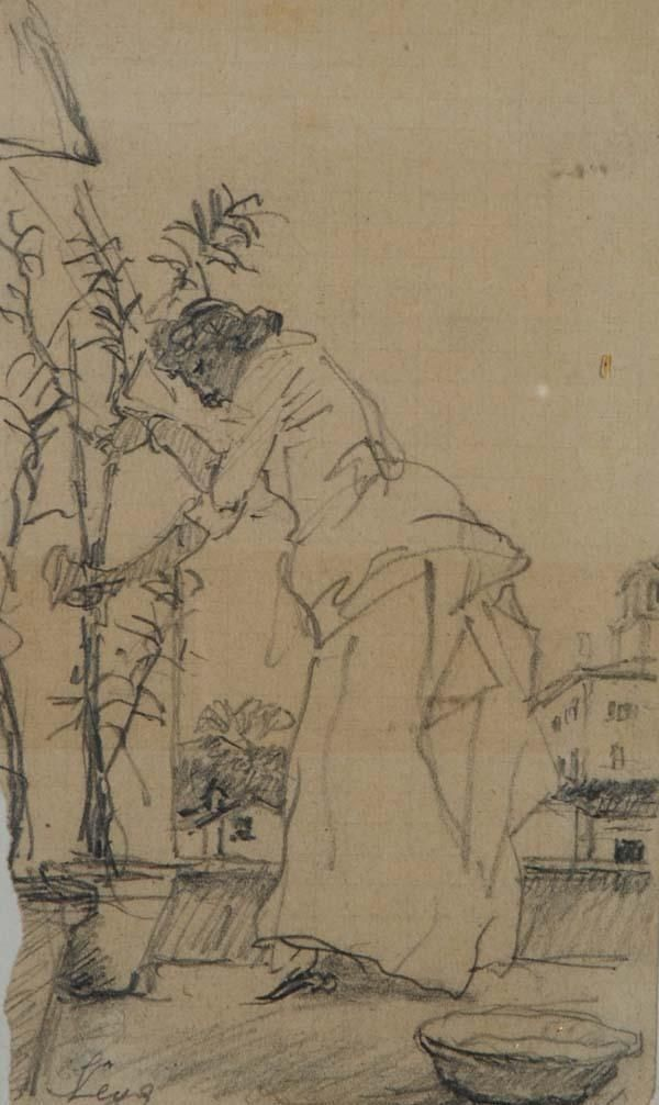 Silvestro Lega It 1826 1895 La Potatura Disegno Arte