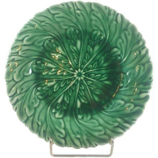 Art Nouveau Green Majolica Plate ($99) ❤ liked on Polyvore featuring home, kitchen & dining, dinnerware, art nouveau plates, green dinnerware and green plate