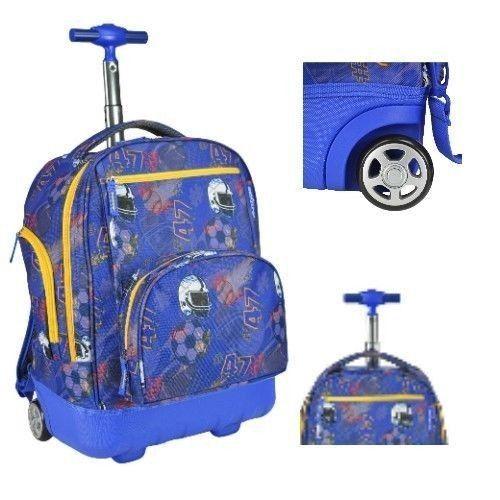 Boys #Rolling Backpack Back to #School #Wheeled Bookbag Roller Bag Trolley Football  #Backpack