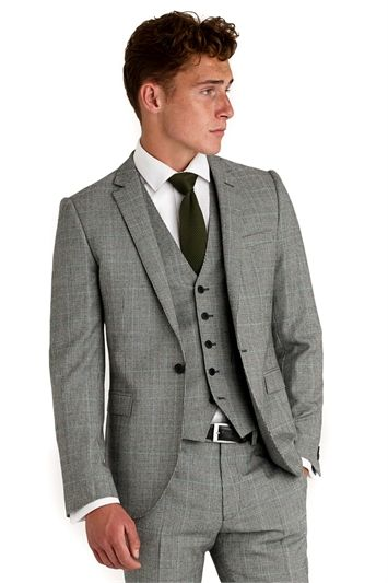 Moss London Slim Fit Black and White with Green Check 3 Piece Suit