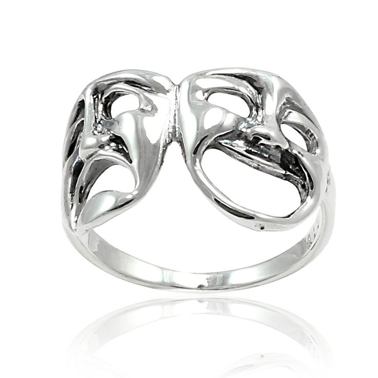 Happy and Sad Ring Solid 925 Sterling Silver Tragedy Comedy Theater Mask Ring Happy & Sad Ring