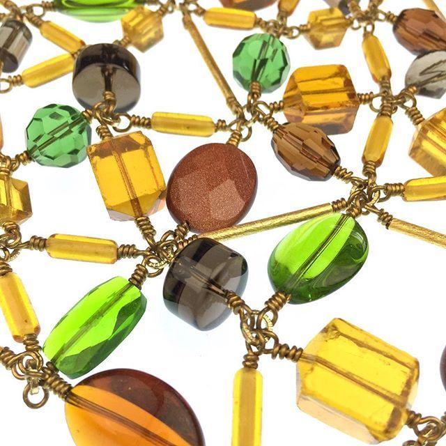 #Details of our #Klee #keleidoscope #necklace. Available at JaredJamin.com #jewelry #quartz #goldstone #dyedquartz #smokyquartz #linknecklace #statementjewelry #statamentnecklace #shop #losangeles #wearableart #fashion #fashionart #green #westhollywood