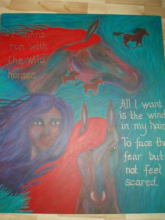 Acrylic/horses/song lyrics
