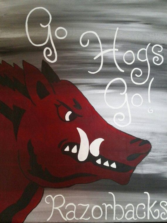 Hey, I found this really awesome Etsy listing at https://www.etsy.com/listing/220485574/arkansas-razorback-painting-14x18-canvas