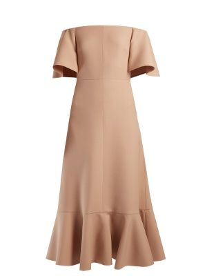 Valentino's Resort 2017 collection is inspired by the vibrant spirit of Cuba. The most elegant translation, this lustrous blush-pink crepe dress slopes sensuously off the shoulders and into a calf-skimming skirt, with swishing ruffles trimming the shoulders and hem.