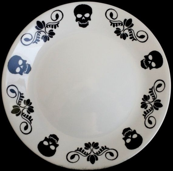 Memento Mori Skulls Dinner Plate by SqueeSquared on Etsy