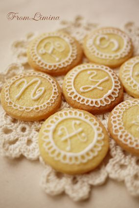 monogram cookie with lace detail - I can do this (to the tune of the little engine that could)