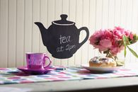A chalkboard teapot is the ideal way to keep organised and add a decorative touch without damaging walls. Removable without leaving residue.