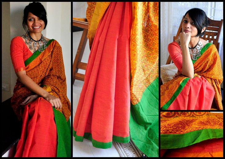 COTTON COLLECTION -THE LOST POSTCARD!  06 - EARTHYNESS!Double shaded Peach and orange printed partly pallu cotton sari with green pallu and border. It comes with green cotton blouse material.Price upon request (ONLY via emails/FB inbox messages).To order this sari and for other purchase related queries  kindly mail me at bhangthestore@gmail.com or send a message to FB inbox here!Orders for customising this sari can be placed only until stock lasts.  19 January 2017