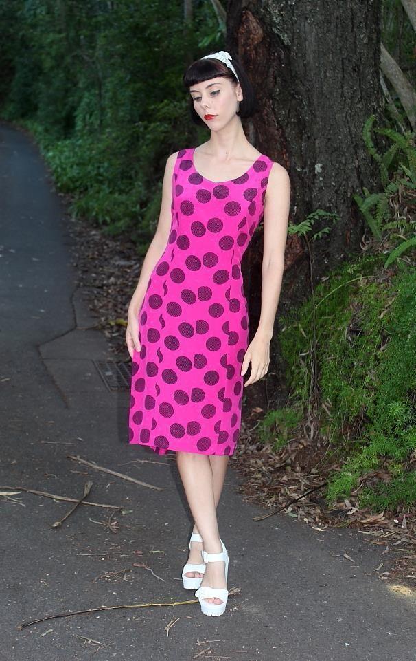 Vintage 80's Retro Hot FUCHSIA Pink Black CIRCLE PRINT FUN Party Dress AUS 8 XS