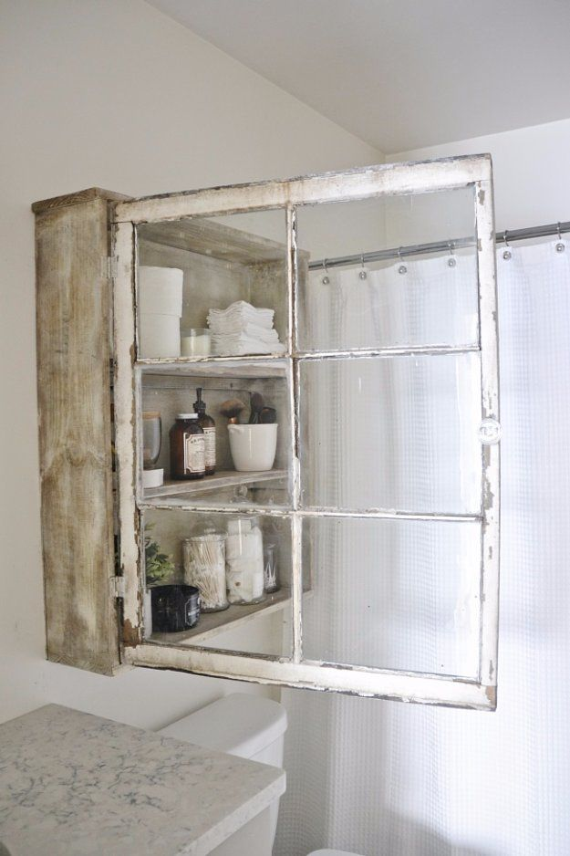 DIY Storage Ideas - DIY Antique Window Bathroom Cabinet - Home Decor and Organizing Projects for The Bedroom, Bathroom, Living Room, Panty and Storage Projects - Tutorials and Step by Step Instructions  for Do It Yourself Organization http://diyjoy.com/diy-storage-ideas-organization