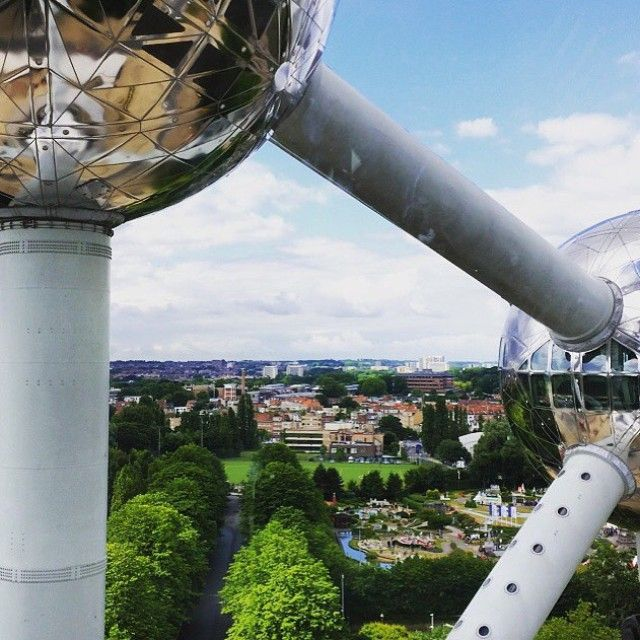 On the way to work today, I decided to climb this shiny building and take in the view #atomium #brussels #view #panorama