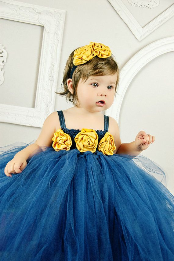 navy blue mustard yellow tulle dress princess by BBMCreations