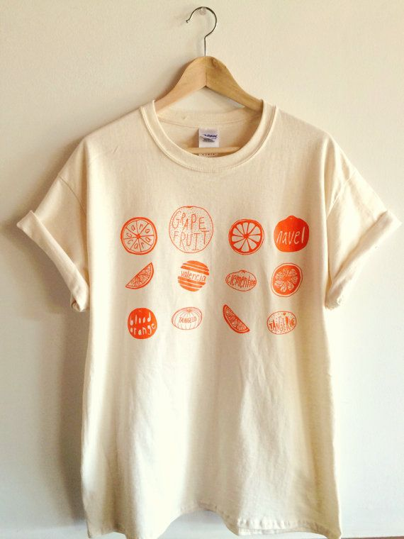 Oranges Screen Printed T Shirt Fruit Print by andMorgan on Etsy