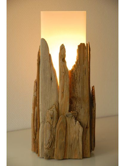 Relife an old lamp by covering with driftwood!!!!