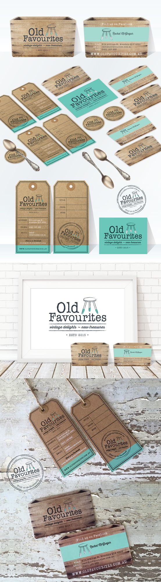 Delicious vintage style branding using a mix of white ink & kraft board along with die cut business cards. Simple colour palette of white, gray and aqua. Shabby Chic. Vintage Style. Marketing. Branding. Logo. White Ink. Kraft card.