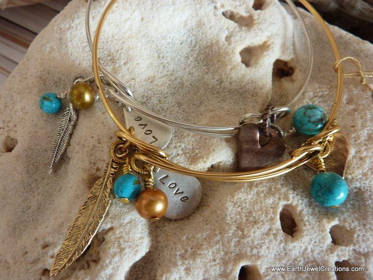 $39 - Turquoise Love Bangle - Inspirational handmade gemstone jewellery Earth Jewel Creations Australia