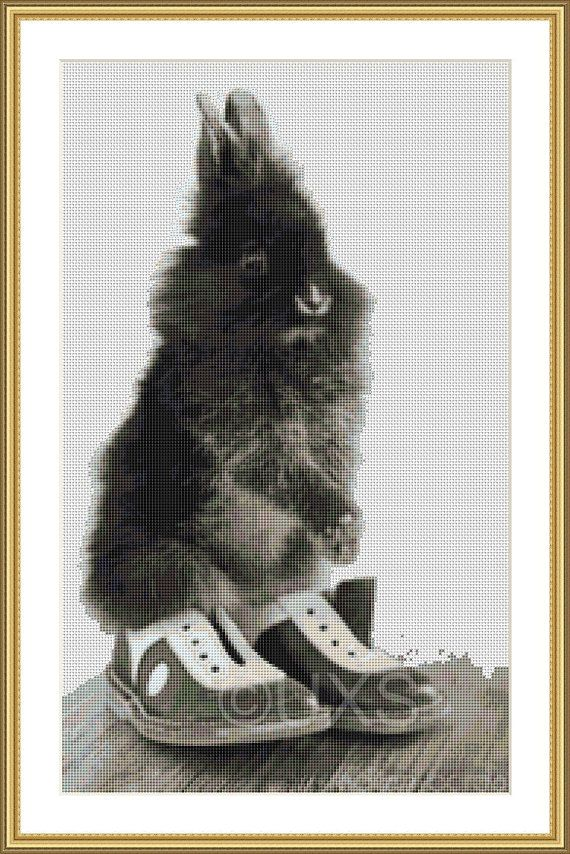 Fluffy bunny rabbit wearing smart shoes counted by UnconventionalX, $36.50