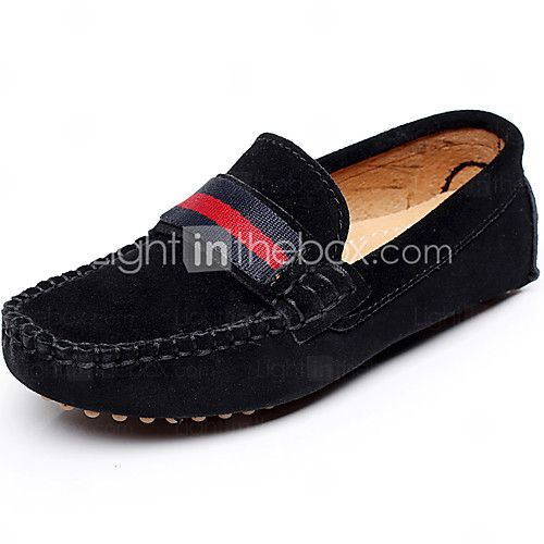 Boy's Boat Shoes Spring / Summer / Fall Moccasin Leather Outdoor / Casual / Athletic Flat Heel Braided Strap / Slip-on Black / Red / Gray - CAD $33.35