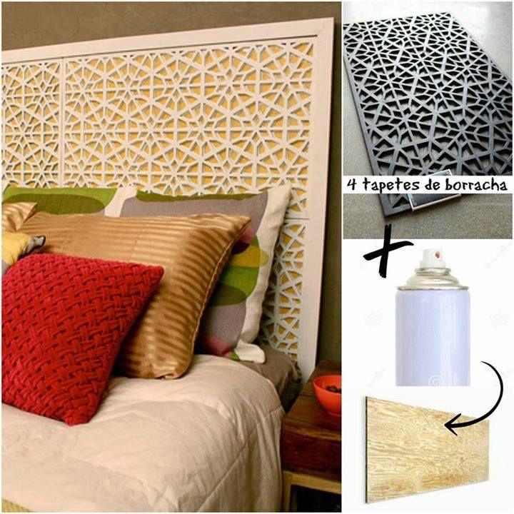 """Projeto """"faça você mesmo"""": cabeceira de cama, a partir de 4 tapetes. Super criativo!!  (Fonte: Minha Casa e http://karapaslaydesigns.com/diy-west-elm-morocco-headboard/)"""
