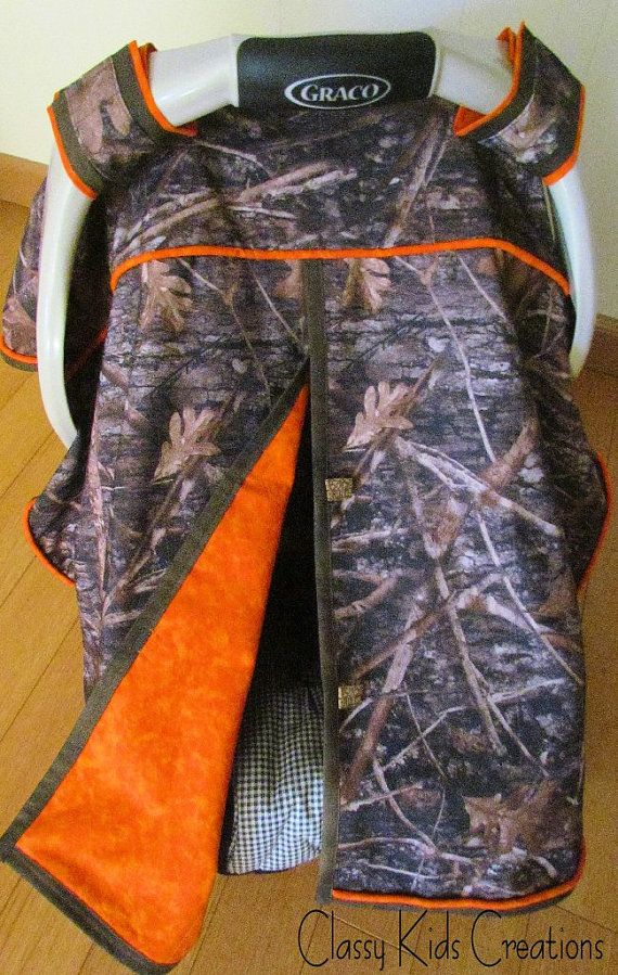 True Timber Camo with Orange Trim Baby Boy Car Seat Blanket Canopy / Car Seat Cover / Car Seat Blanket Tent on Etsy, $40.00